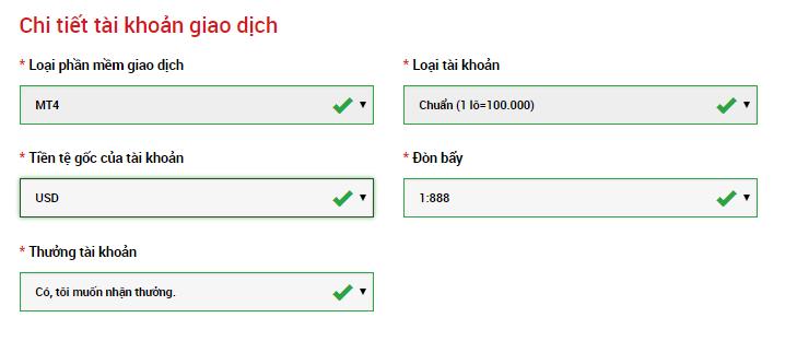 Chi tiết tài khoản giao dịch