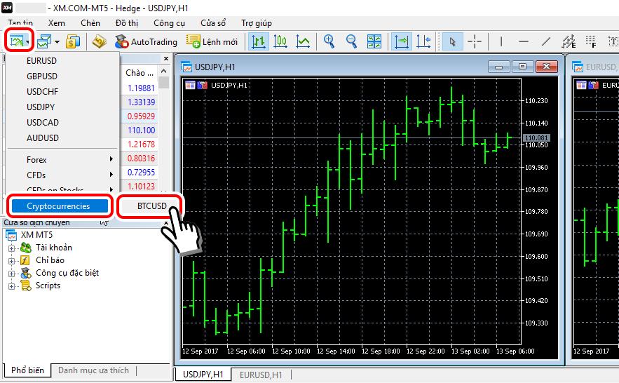 Hiển thị BTC/USD ở MT5