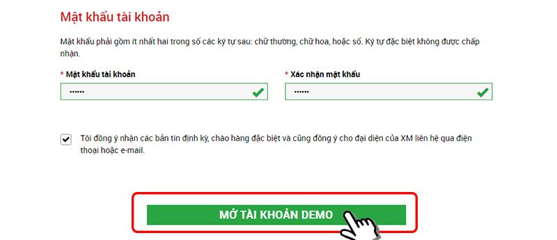 mật khẩu đăng nhập tài khoản demo