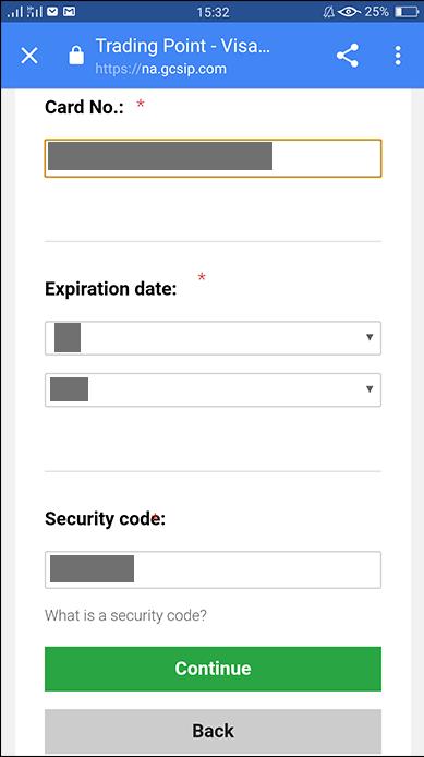 Nhập thông tin thẻ tín dụng