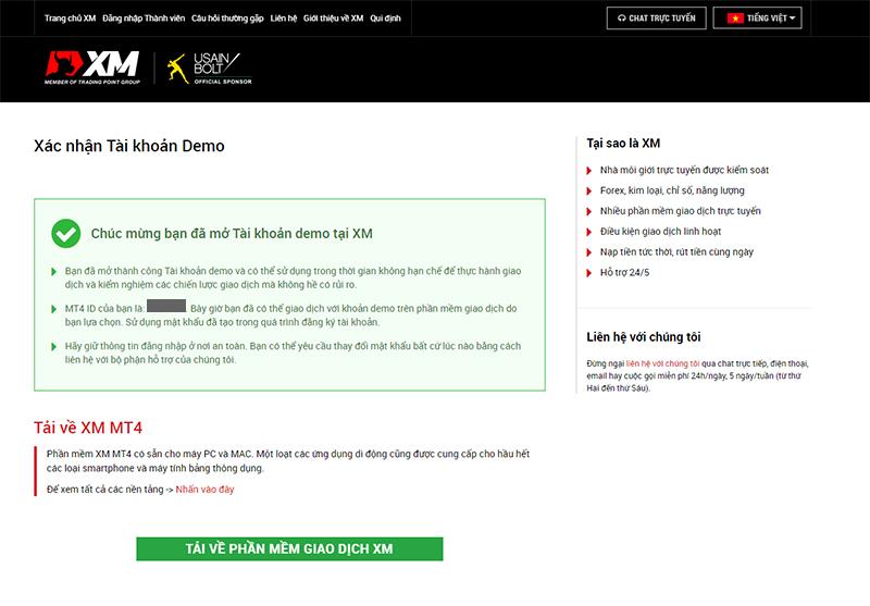Đăng ký tài khoản XM demo thành công