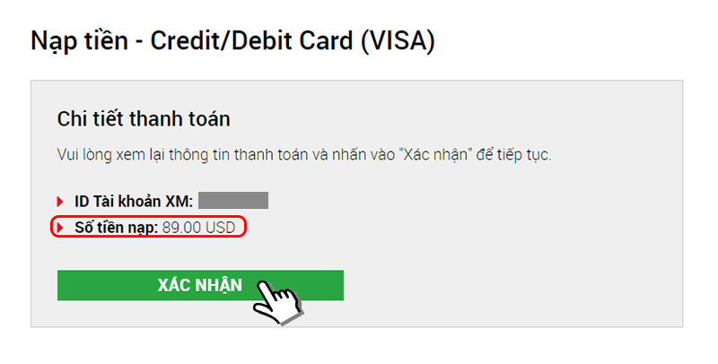 nạp tiền xm credit card/debit card (visa)